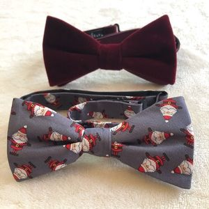 Velvet & Silk Santa Bow Tie set adjustable LOT